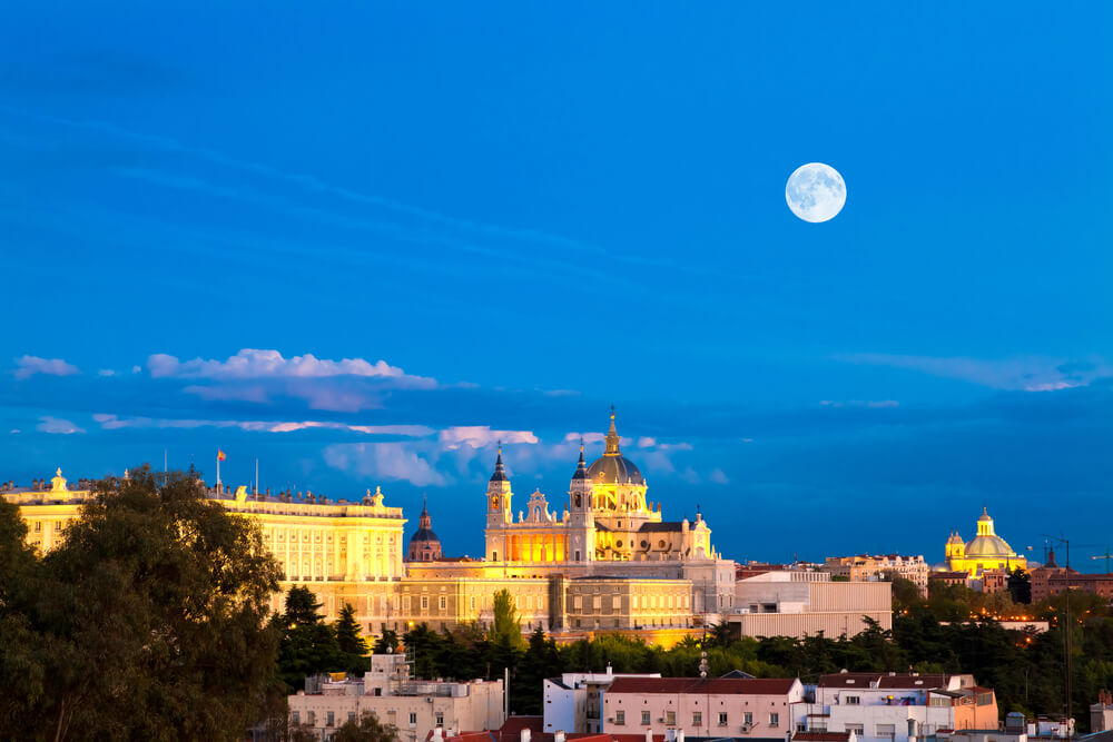 Madrid with moon