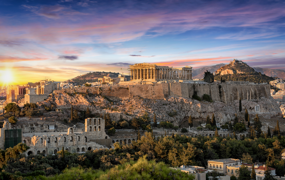 The,Parthenon,Temple,At,The,Acropolis,Of,Athens,,Greece,,During