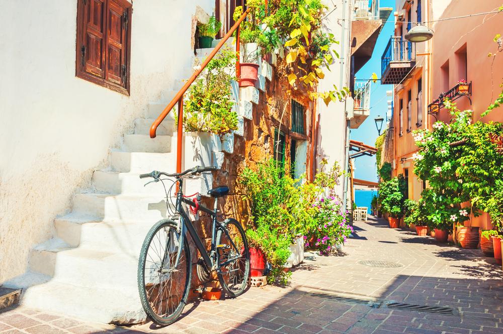 Beautiful,Street,In,Chania,,Crete,Island,,Greece.,Summer,Landscape